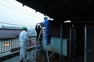 東村山市の管理物件で台風対策をしている写真①
