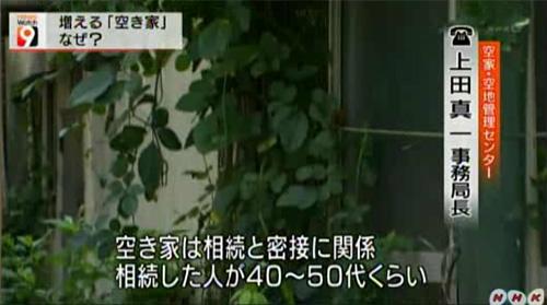 NHK総合 ニュースウォッチ9  空家の原因と相続が密接に関係していることや空き家の悪影響を抑え