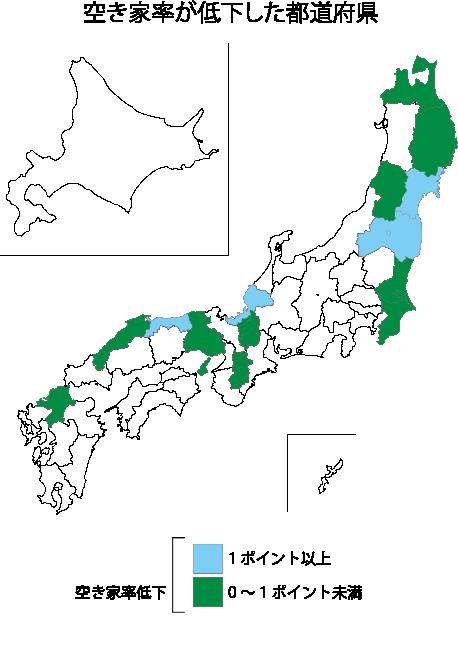 空き家率低下都道府県