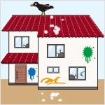 屋根、外壁等が、汚物や落書き等で外見上大きく傷んだり汚れたまま放置されている/多数の窓ガラスが割れたまま放置されている