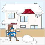 屋根の雪止めの破損など不適切な管理により、空き家からの落雪が発生し、歩行者等の通行を妨げている