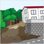 周辺の道路、家屋の敷地等に土砂等が大量に流出している